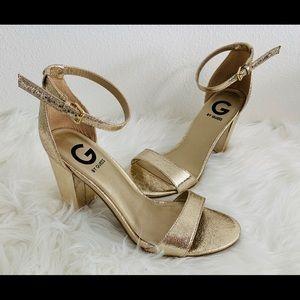 Guess Gold Foil Shantel Heels Size 7.5 Women's